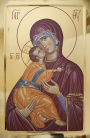 Madre di Dio di Vladimir (tempera all'uovo su tavola dorata a bolo, 60x40 CM, 2019)